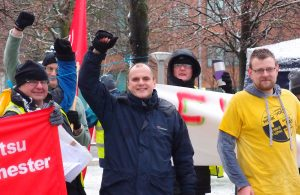 Ian on picket at Fujitsu Manchester