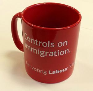 "Mug reads ""controls on immigration: I'm voting Labour"""