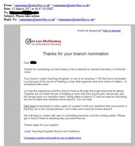 Email backing McCluskey claiming to be from Leeds Teaching Hospitals branch and Unite4Len