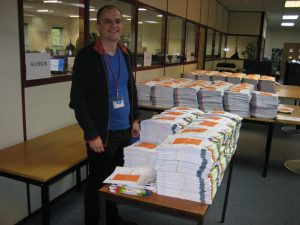 Ian standing by his pile of 17143 votes at the count